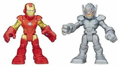 Playskool Heroes Marvel Super Hero Adventures Iron Man and Ultron Figures(Multicolor)