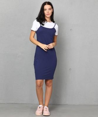 Metronaut Women Pinafore White, Dark Blue Dress at flipkart