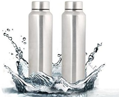 Steelo classic stainless steel fridge water bottle 1000ml (pack of 2) 1000 ml Bottle(Pack of 2, Steel/Chrome, Steel)