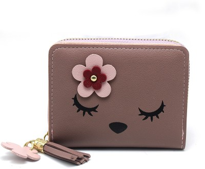Nikush Women Casual Pink Artificial Leather Card Holder(3 Card Slots)