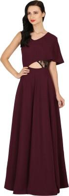 Raas Pret Women Gown Maroon, Black Dress