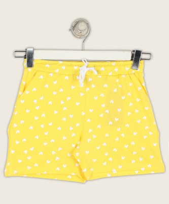 Miss & Chief Short For Girls Casual Printed Pure Cotton(Yellow, Pack of 1) at flipkart