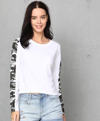 Metronaut Printed Women Round Neck White T-Shirt