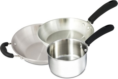 Jindal Stainless Steel Cookware Set Induction Bottom Cookware Set(Stainless Steel, 3 - Piece)