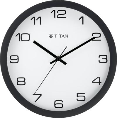 Titan Analog 30 cm X 30 cm Wall Clock(Black, With Glass)