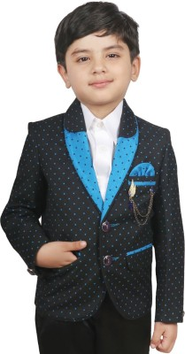 SG YUVRAJ Polka Print Single Breasted Party Baby Boy's Blazer(Blue)