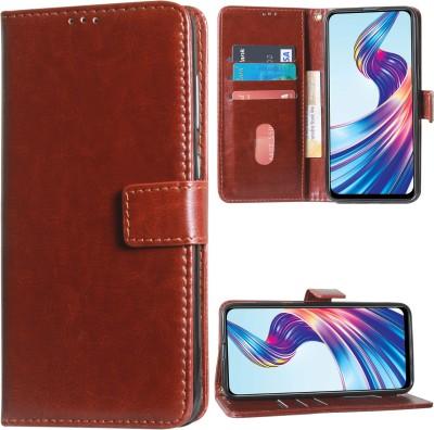 DMG Wallet Case Cover for Vivo V15(Brown, Shock Proof)