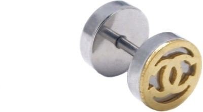 One Personal Care Gold Glossy Finish Dumbbell Shape Stainless Steel Stud Earring