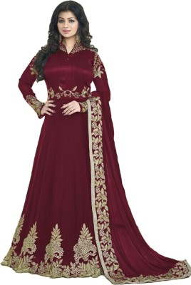 SA Kart Georgette Embroidered Gown/Anarkali Kurta & Bottom Material(Semi Stitched)