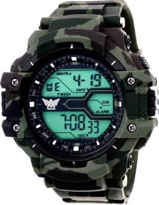 ABREXO Abx1017 Gents Green Solitary Affrican Army Pattern Chronograph Digital Watch Analog Digital Watch   For Men ABREXO Wrist Watches