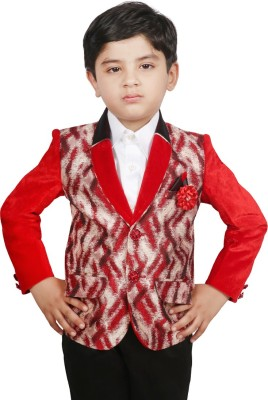 SG YUVRAJ Printed Single Breasted Party Baby Boy's Blazer(Red)