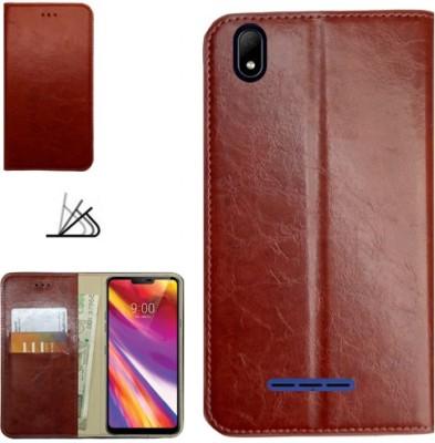 MYSHANZ Flip Cover for Lava Z62, Lava Z62 flip cover, Lava Z62 Desginer Flip cover, Lava Z62 mobile flip cover(Brown)