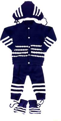 LITTLE PANDA Baby Boys & Baby Girls Casual Top Bootie, Pyjama, Cap(Dark Blue)