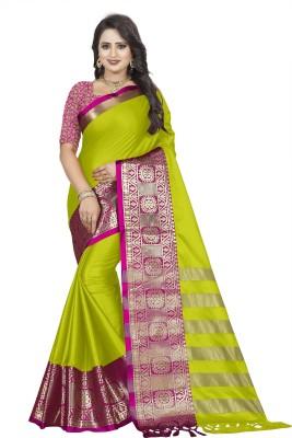 Hensi sarees shop Woven, Solid Paithani Cotton Linen Blend, Jacquard Saree(Multicolor)