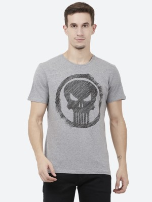 Punisher By Free Authority Printed Men Round Neck Grey T-Shirt