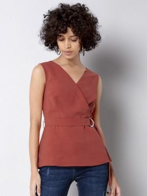 FabAlley Casual Sleeveless Solid Women Orange Top