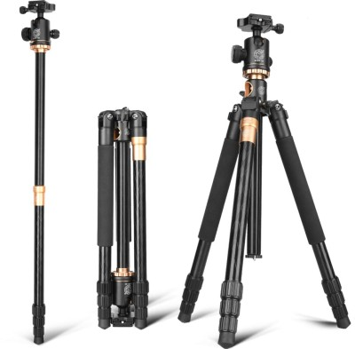 Star Wings Q999H camera tripod with monopod and ball head tripod kit for dslr Tripod Kit, Monopod, Tripod Ball Head(Black,Brown, Supports Up to 10000 g)