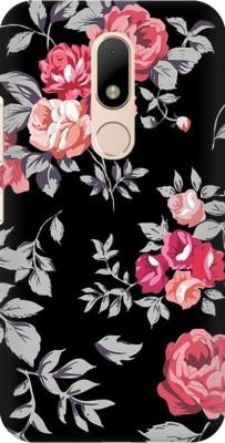 COBIERTAS Back Cover for Motorola Moto M(Multicolor Black Floral Pink Design Designer Print Printed Design, Hard Case)