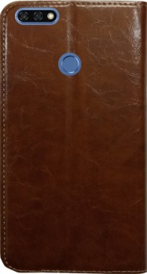 MYSHANZ Wallet Case Cover for Honor 7C, Honor 7C flip cover, Honor 7C Desginer Flip cover, Honor 7C mobile flip cover(Brown)