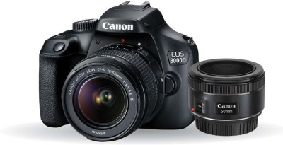 Canon EOS 3000D DSLR Camera Dual Kit with 18-55 mm + 50mm 1.8 STM lens (16 GB Memory Card &...