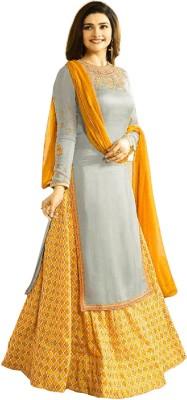 Fashionuma Embroidered Semi Stitched Lehenga & Kurta(Grey, Yellow) at flipkart