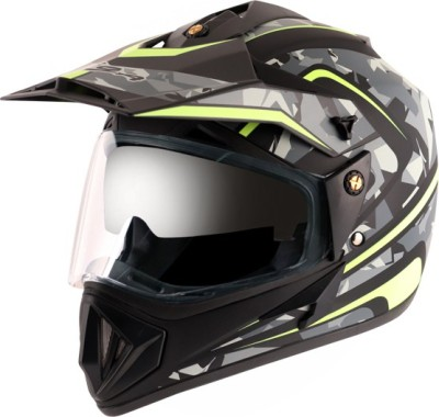 VEGA OFFROAD D/V CAMO DULL BLACK YELLOW M Motorbike Helmet(DULL BLACK YELLOW)