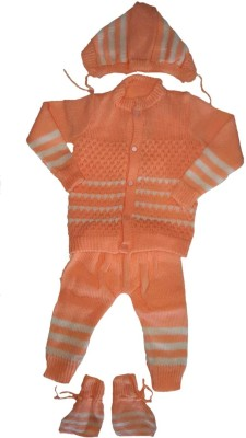 LITTLE PANDA Baby Boys & Baby Girls Casual Top Bootie, Pyjama, Cap(Orange)