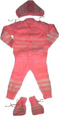 LITTLE PANDA Baby Boys & Baby Girls Casual Top Bootie, Pyjama, Cap(Pink)