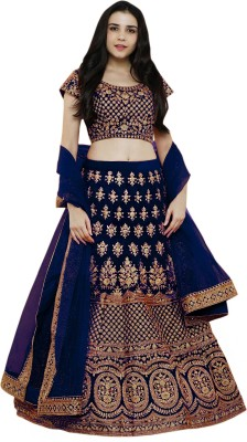 Shree Impex Embroidered Semi Stitched Lehenga Choli(Dark Blue)