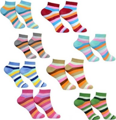 Chartbusters Women Striped Ankle Length(Pack of 8)