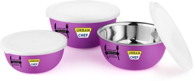 Urban Chef Flora Microwave Safe Steel Vegetable Bowl(Purple, Pack of 3)