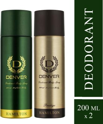 DENVER Hamilton and Prestige Combo Deodorant Spray  -  For Men(400 ml, Pack of 2)