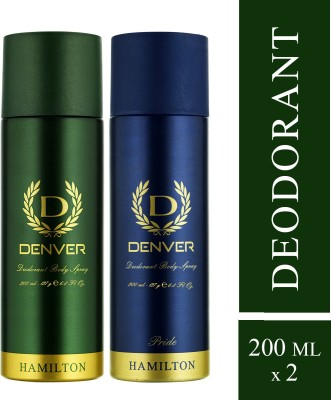 Denver Hamilton and Pride Combo Deodorant Spray  -  For Men(400 ml, Pack of 2)