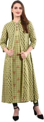 Anutarra Women Self Design Asymmetric Kurta(Light Green)