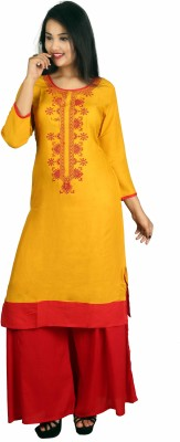GIPTIP Festive & Party Printed Women Kurti(Yellow)