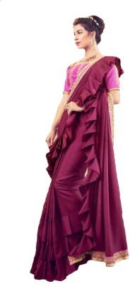 Be4Me.com Embroidered Fashion Art Silk, Cotton Silk Saree(Purple)