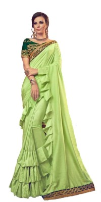 Be4Me.com Embroidered Fashion Art Silk, Cotton Silk Saree(Green)