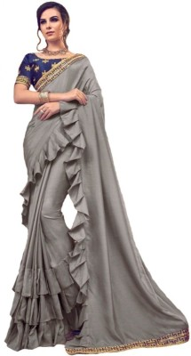 Be4Me.com Embroidered Fashion Art Silk, Cotton Silk Saree(Grey)