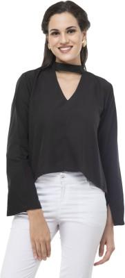 Mia Fashion Casual Full Sleeve Solid Women Black Top