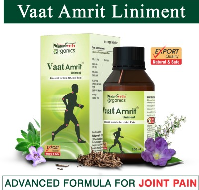 NATUROVEDA ORGANICS Vaat Amrit Liniment for All Kinds of Joint Pain (100 ml) | Fast Pain Relief Oil for Low Back, Hips, Shoulder, Arms, Wrist, Neck, Knee, Ankle, Heel and Legs, Stiffness, Inflammation | 100% Herbal, Ayurvedic, Natural, Prepared with Purest Herbs Liquid(100 ml)
