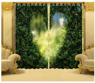 Indiancraft 154 cm (5 ft) Polyester Window Curtain (Pack Of 2)(Printed, Desgin3)