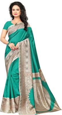 Saara Printed Bhagalpuri Poly Silk Saree(Green)