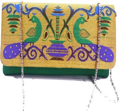 Dhana's Paithani Green Sling Bag