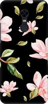 COBIERTAS Back Cover for Mi Redmi Note 5(Multicolor Black Floral Pink Roses design Designer Print Printed Design, Hard Case)