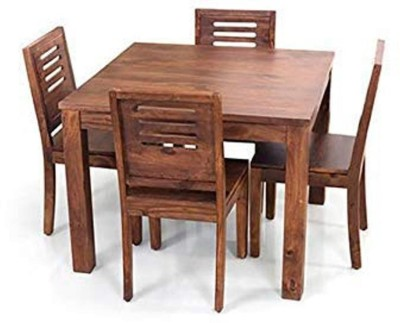 True Furniture Mango Wood Dining Table Set with 4 Chairs for Living Room Furniture (Teak Finish) Solid Wood 4 Seater Dining Set(Finish Color - Teak Finish)