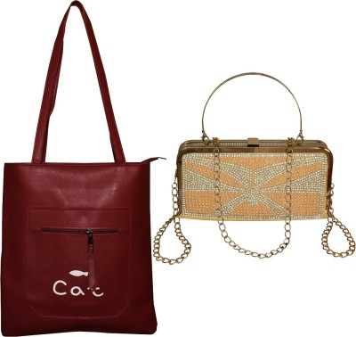 Gehna by RTS Women Maroon, Gold Messenger Bag