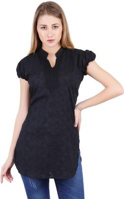 Haniya Casual Chikan Embroidery Women Kurti Black