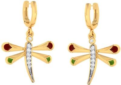 Jewelkari.com Vibrant Dragonfly Earrings Yellow Gold 14kt Hoop Earring