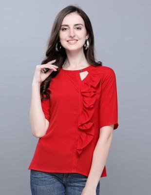 SelviaCasual Regular Sleeve Solid Women Red Top Selvia Tops