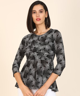 AND Casual Regular Sleeve Printed Women Black Top